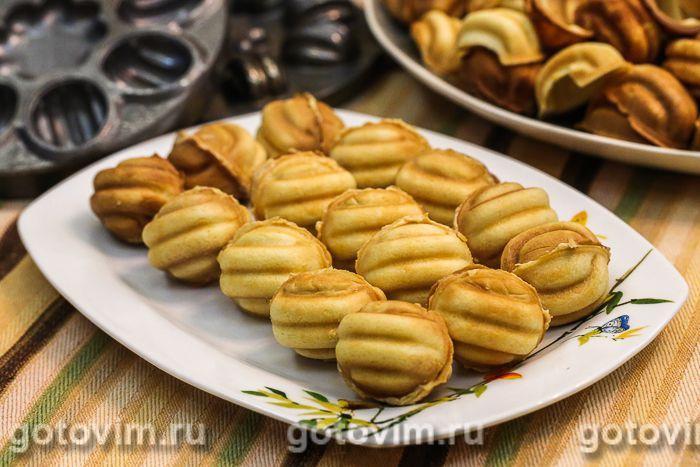 Орешки с ореховой начинкой. Фотография рецепта
