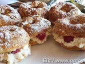 Пирожные Paris–Brest с малиново-личиевым кремом
