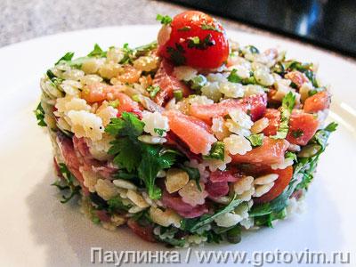 Паста - салат с рыбой. Фотография рецепта