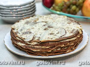 Закусочный торт из куриной печенки с белыми грибами в сметане