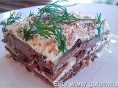 Печеночно-грибной торт из лаваша