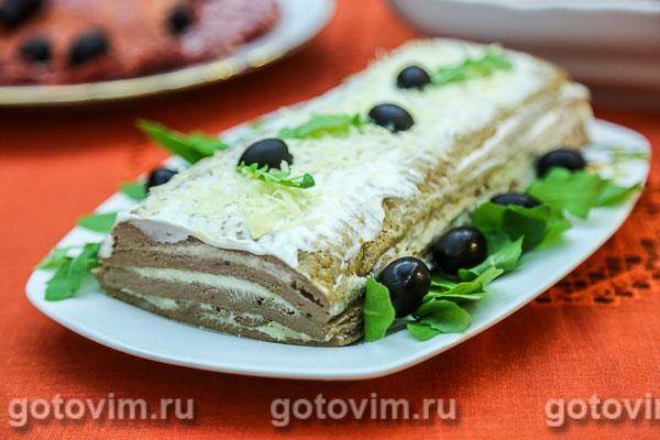 печёночный торт с сыром рецепт с фото