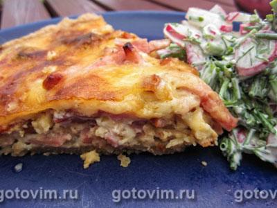 Пирог с копченой грудинкой и вялеными помиродами. Фотография рецепта