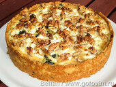 Пирог с мангольдом, сыром фета и грецкими орехами