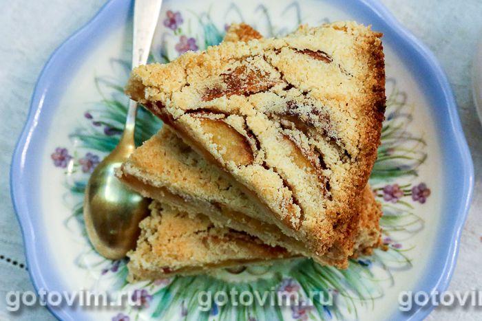 Насыпной пирог с персиками. Фотография рецепта