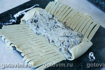 Плетеный пирог из хрущевского теста с картофелем и грибами, Шаг 04