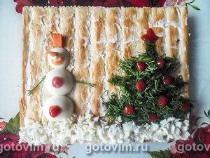 Закусочный торт рыбный «Наполеон»