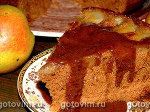 Пирог с грушами и шоколадным соусом
