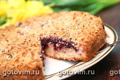 Пирог с черной смородиной под штрейзельной крошкой. Фото-рецепт