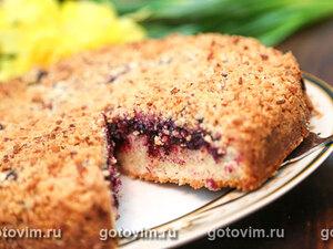 Пирог с черной смородиной под штрейзельной крошкой