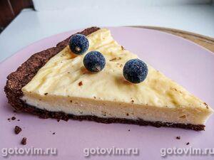 Творожный пирог с шоколадной основой
