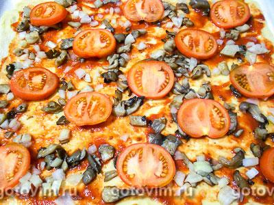 Пицца с грибами и помидорами, Шаг 07