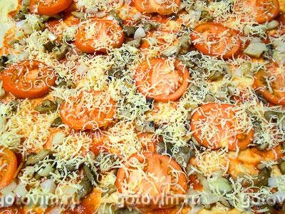 Пицца с грибами и помидорами, Шаг 08