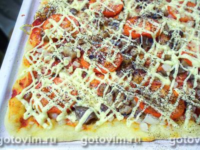 Пицца с грибами и помидорами, Шаг 09