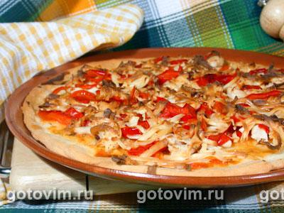 Пицца с курицей и маринованным перцем. Фото-рецепт