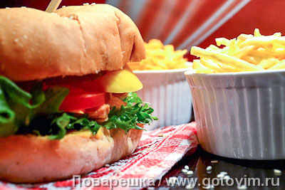 ������ � ������� � ����� (Pulled chiken burger). ���������� �������