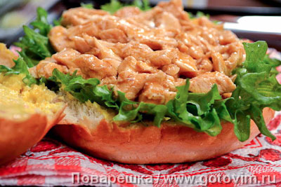 ���������� ������� ������ � ������� � ����� (Pulled chiken burger), ��� 03