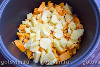 Рагу из тыквы с мясным фаршем и овощами в мультиварке, Шаг 05