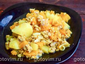Рагу из тыквы с мясным фаршем и овощами в мультиварке