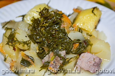 Фотография рецепта Тушеная картошка с печенью в мультиварке