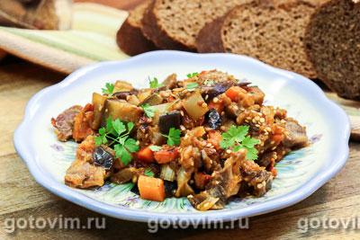 Овощное рагу с баклажанами и куриными желудками. Фото-рецепт