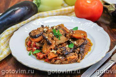 Овощное рагу с баклажанами и соусом сацебели