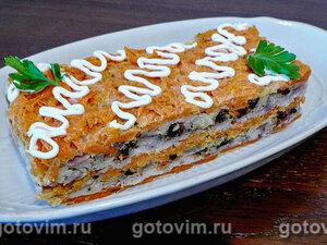 Запеченный закусочный торт из рыбы и овощей