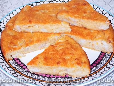 Дрожжевой заливной пирог с рыбой. Фотография рецепта