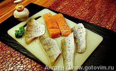 Фотографии рецепта Рыбная вариация с тыквенным пюре и тартаром из яблок и цуккини, Шаг 03