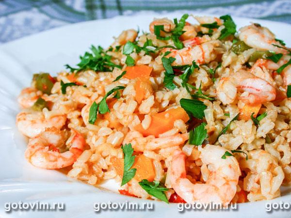 фото с кари соус Рис креветками с рецепт