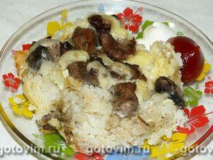 Рисовая запеканка с грибами и мясом индейки