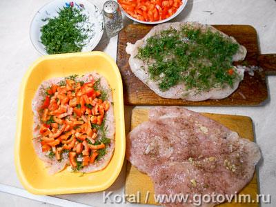 Рулет из куриной грудки с овощами в пароварке, Шаг 03
