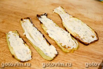 Рулетики из кабачков с крабовыми палочками VIČI и творожным сыром , Шаг 04