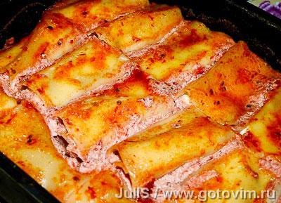 Рулеты из лазаньи с творогом и сыром, Шаг 09