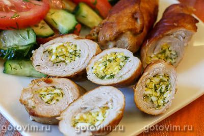 Рулетики из свинины с сыром, яйцом и зеленью