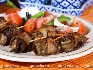 Румаки из маринованной куриной печенки