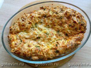 Рваный пирог из лаваша с сыром, творогом и зеленью
