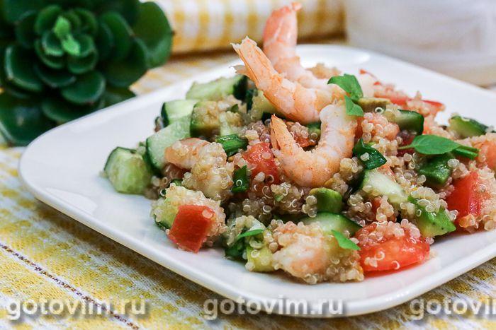 салат из киноа с креветками и овощами рецепт с фото готовимру