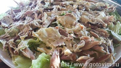 Слоеный салат из курицы с авокадо, сельдереем и сырным соусом ( A la MARRE), Шаг 03