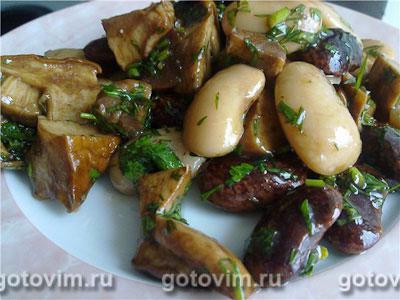 Салат из фасоли и белых грибов. Фото-рецепт