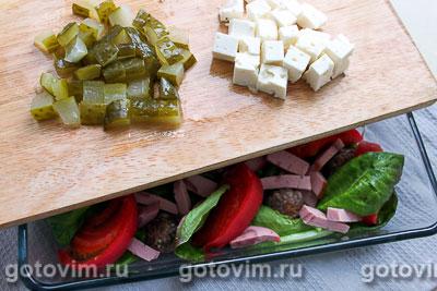 Салат для пикника с фрикадельками и рассольным сыром, Шаг 07