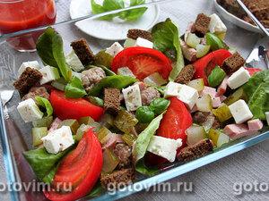 Салат для пикника с фрикадельками и рассольным сыром