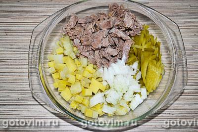 Мясной салат с говядиной и яичными блинчиками, Шаг 05