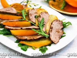 Теплый салат из утки с хурмой
