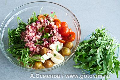 Салат из молодого картофеля и жареных кальмаров, Шаг 06