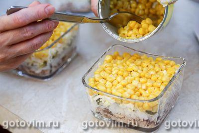 Слоеный салат с консервированной рыбой, рисом и кукурузой, Шаг 10