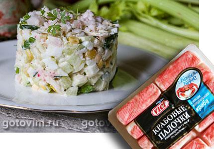 Салат из крабовых палочек «Снежный краб» VIČI с огурцами и кукурузой. Фотография рецепта