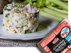 Салат из крабовых палочек «Снежный краб» VIČI с огурцами и кукурузой