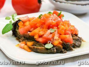 Тёплый овощной салат с печеными баклажанами