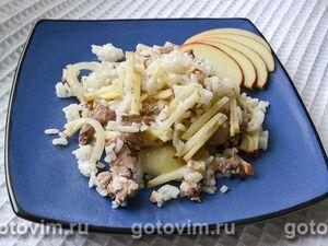 Салат из печени трески с рисом и яблоками